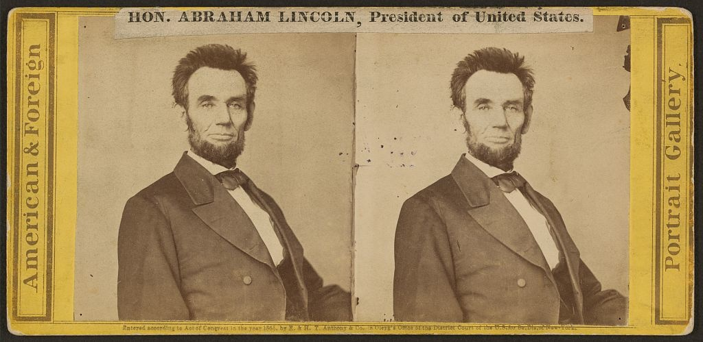 stereoscopic image of Abraham Lincoln