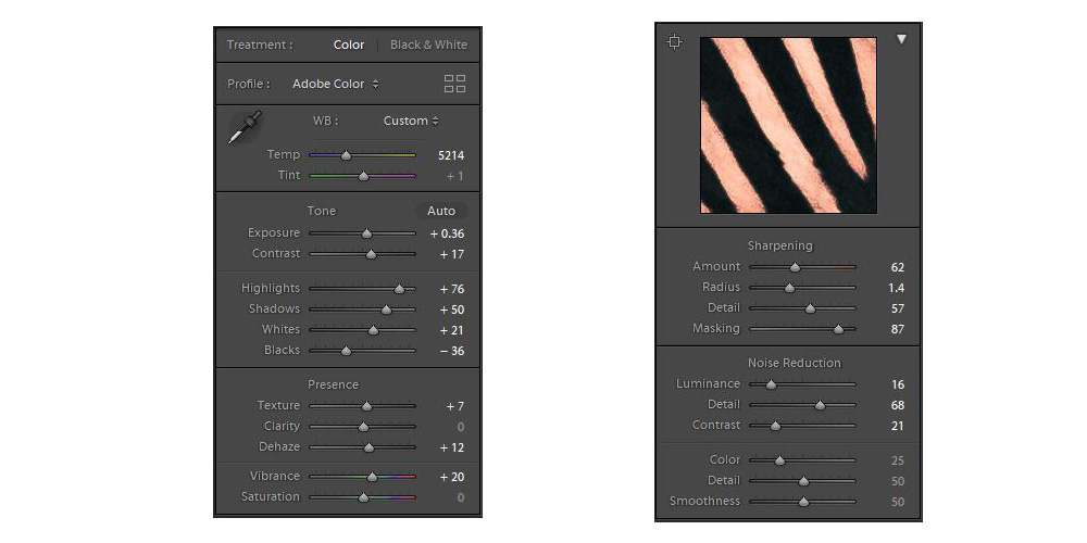 Contrast and sharpness adjustment panels in Lightroom