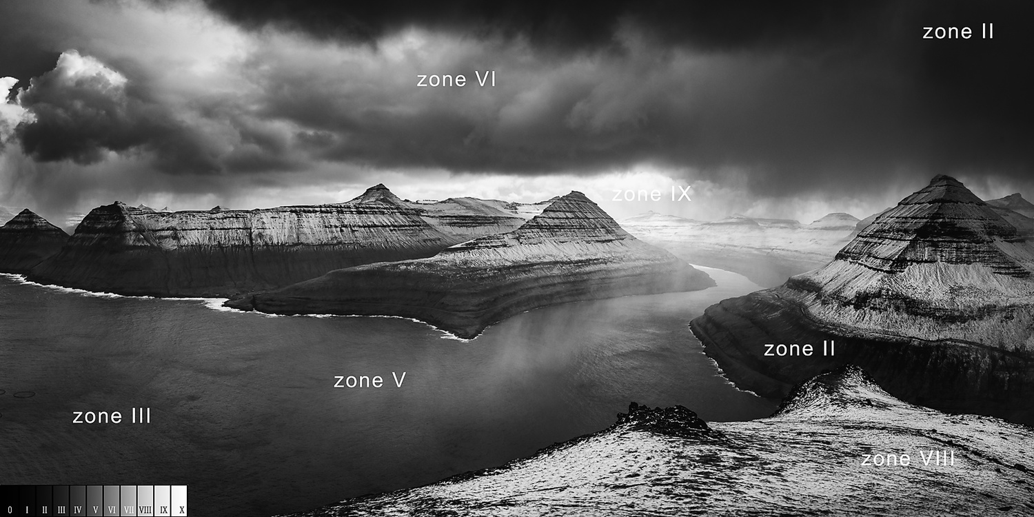 I tried to use the zone system of Ansel Adams to read through the photo I took at the Faroe Islands. The contrast is enhanced during the post-processing. I took the photo using the Exposure to the Right method to maintain detail in the dark areas while pr