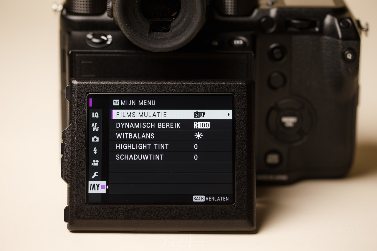 The My Menu of a Fujifilm GFX, the place for the most used menu options. The amount of options can be limited, depending on the brand, and even type of camera.