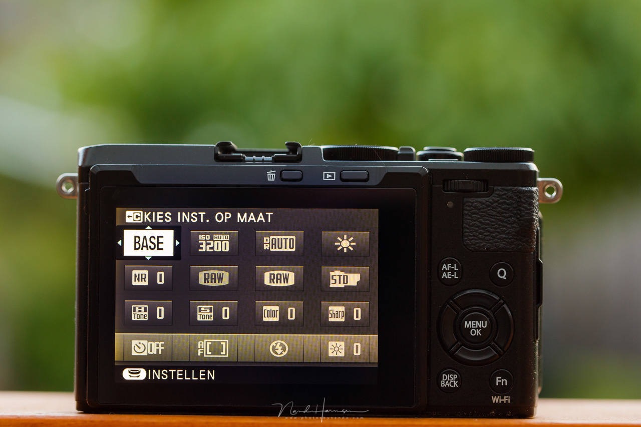 The custom menu of a Fujifilm camera. A set of options placed in a grid for easy access. IN this case, most functions are chosen by the manufacturer, but you can make program than one configurations.