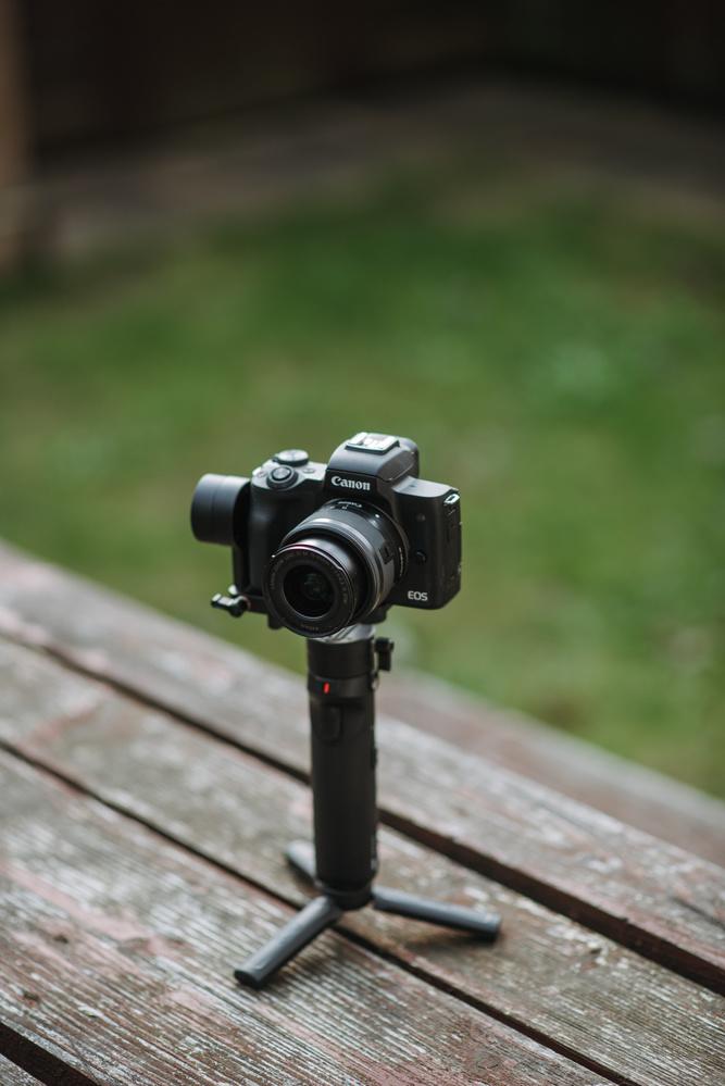 Canon M50 mounted on a Zhiyun gimbal