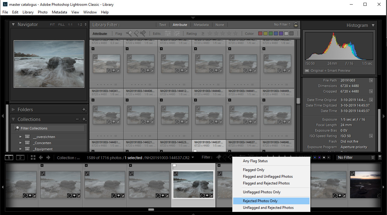 Using selection or rejection flags make it easy to view only the selected photos, or to periodically remove all rejected photos.