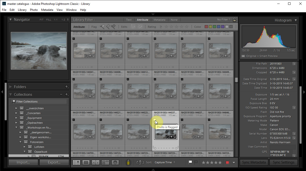 When going through a large number of photos it can be helpful to close the histogram panel at the right. This way, Lightroom doesn't have to calculate a histogram every time you select a photo.