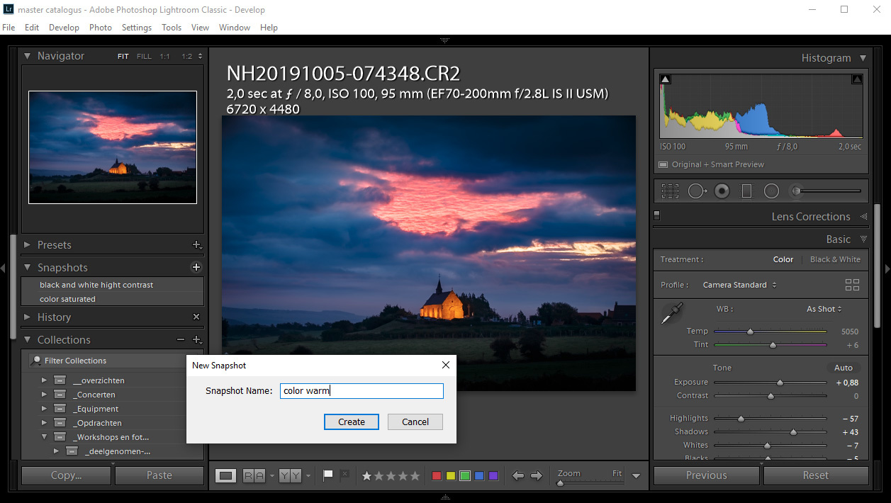By using shap shots, you can save different post processing variations of one image. Just by clicking on the saved snap shot will apply the saved post processing without losing any other post processing variation.