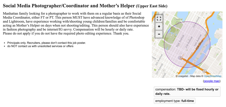 Mother's Helper photography job listing