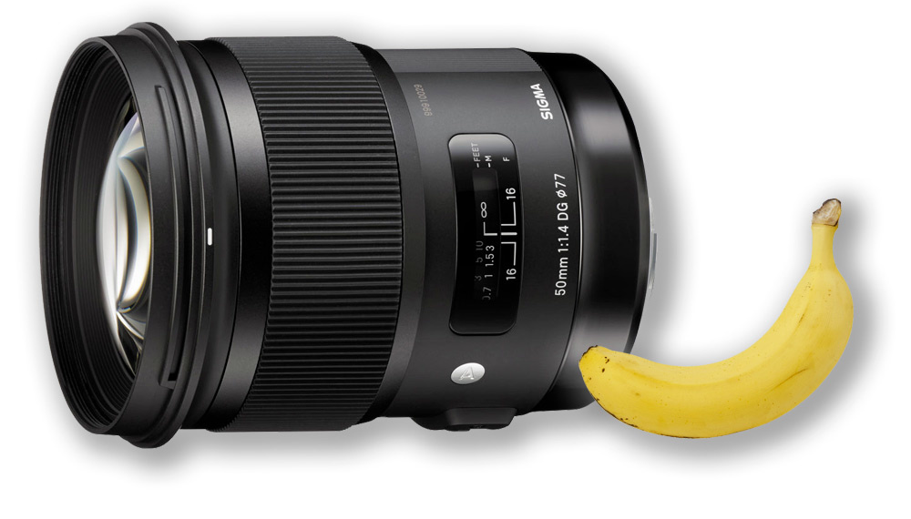 Sigma 50mm f/1.4 DG HSM Art Lens for Canon EF. Banana for scale.