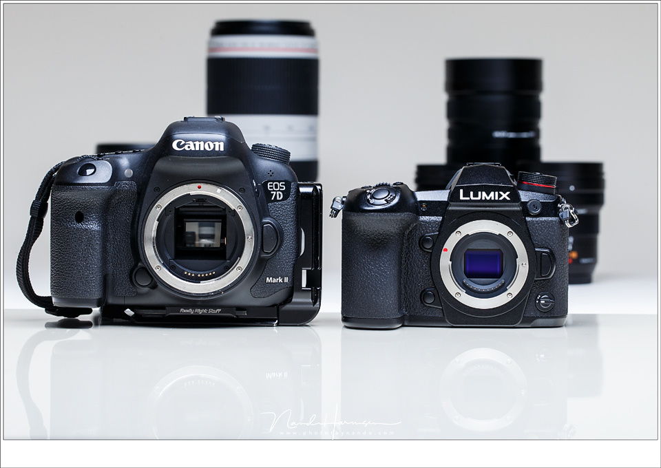 A small micro 4/3 mirrorless camera from Panasonic next to a Canon DSLR. Although the sensor size is a bit smaller, it shows how small a mirrorless camera can be. There are also mirrorless cameras with a full frame sensor that resemble the size of the Pan