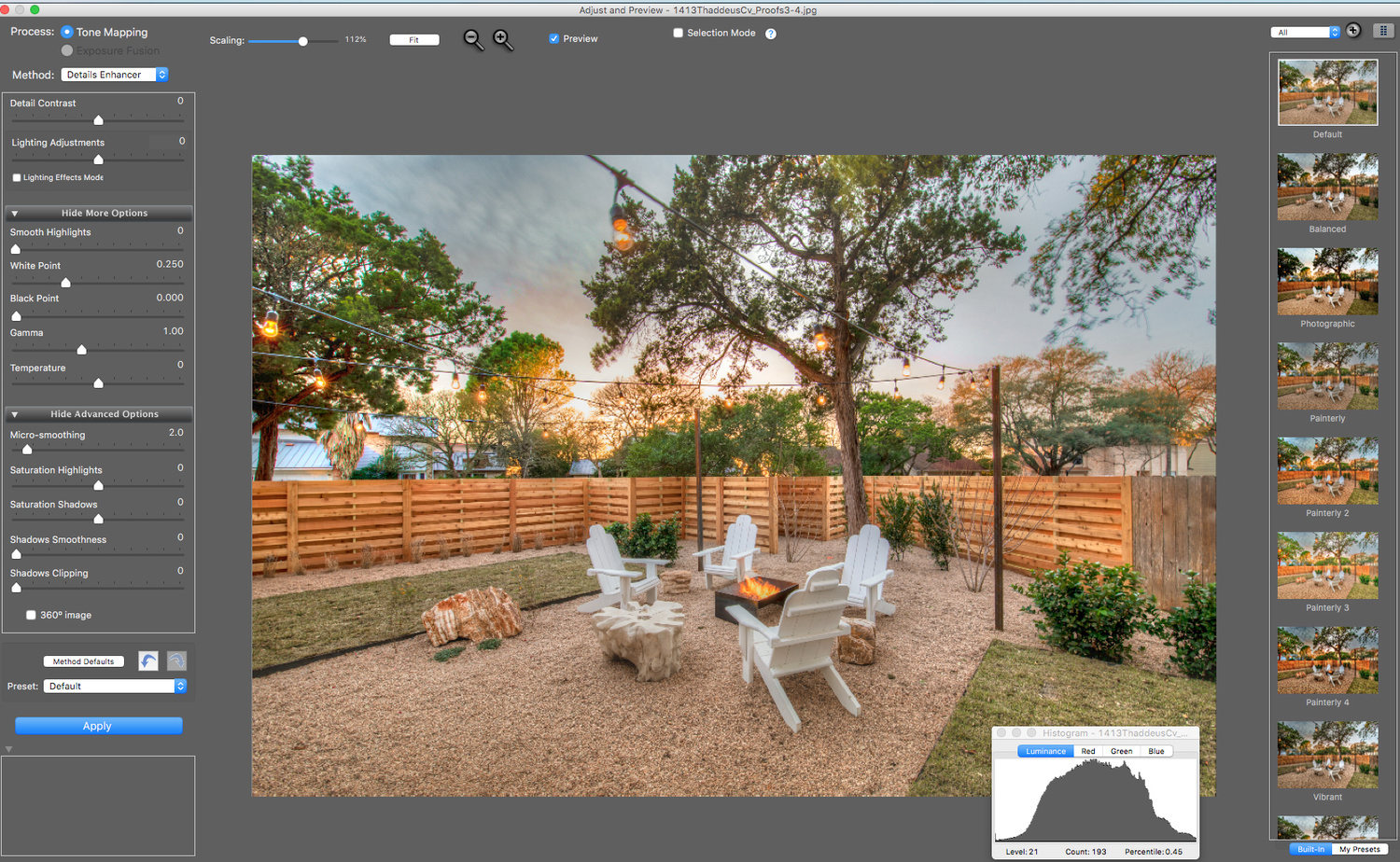 a screen shot of Photomatix tone mapping
