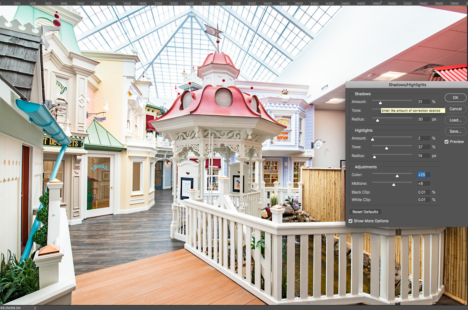 a screenshot showing the Shadows/Highlights adjustment window in Photoshop