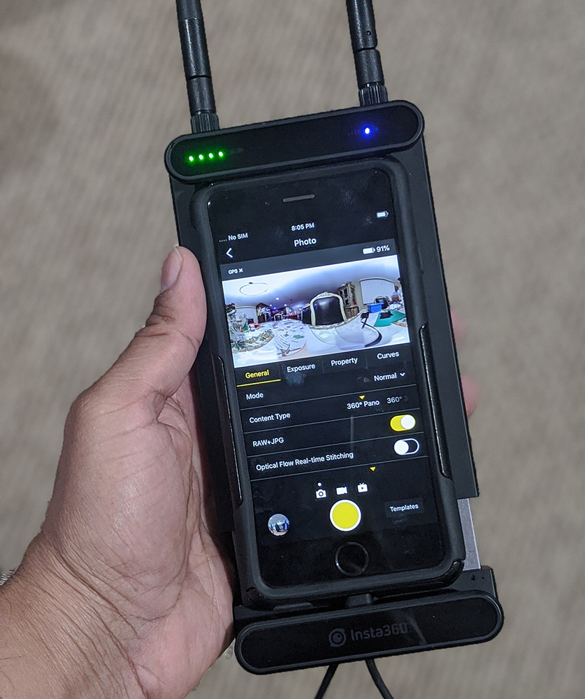 The Farsight system uses your phone or tablet (in this case, my iPhone 6S) and hooks it up to a receiver that boosts the signal range to control the camera significantly.