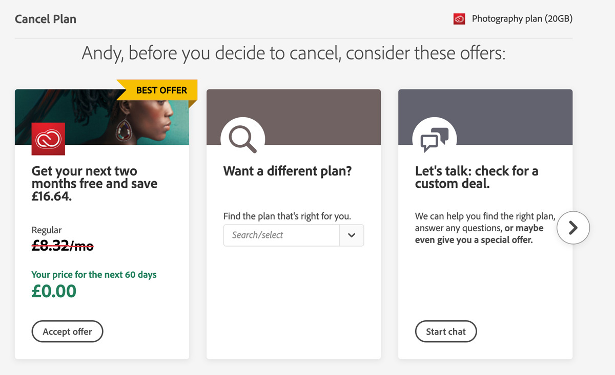 What happens if you try canceling your Adobe subscription?