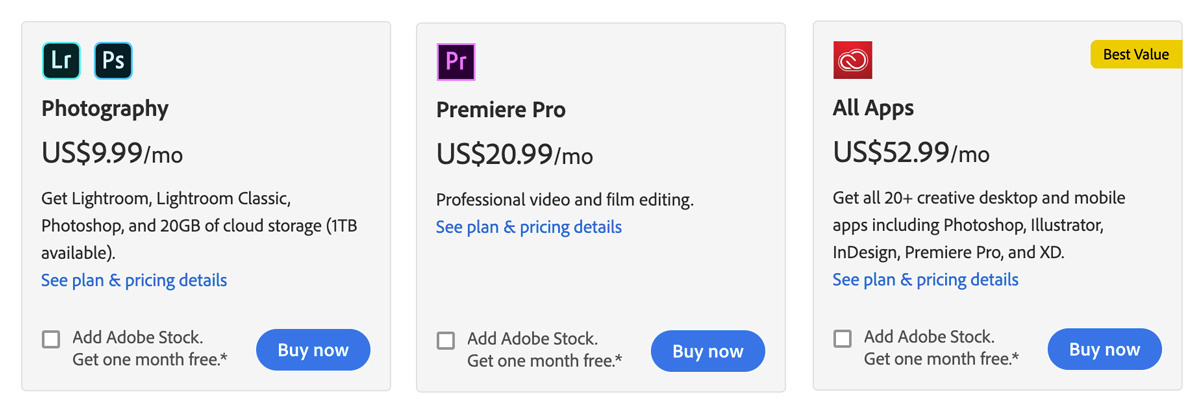 Adobe app prices compared