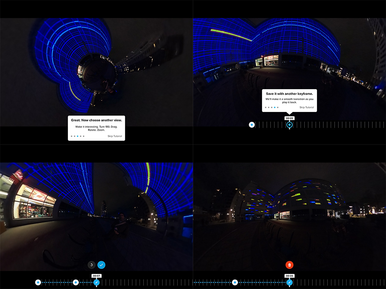 Editing the 360° footage is easy and fun. A few screenshots may give an idea, but you have to see it yourself.
