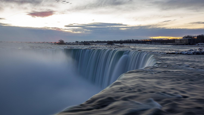 A long exposure of Niagara Falls.