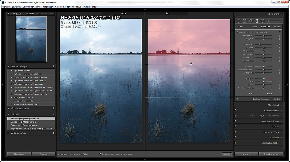 It is very simple to add a gradient onto an image in a post-production programm like Lightroom. The end result is similar to the use of a real filter on location. But this digital filter can easily be adjusted in any way, like making it an uneven gradient