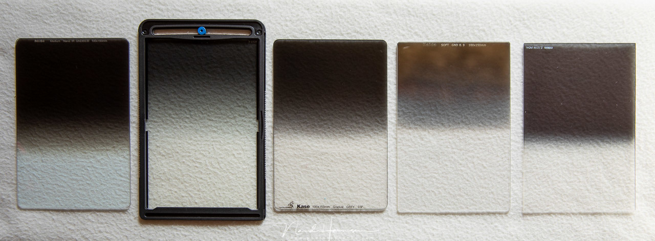 A selection of 3 stop GND filters from different brands. Some of these are really color neutral, others show a slight color cast. Some of these produce flares very quickly, others are very resistant to flares. From left to right: NiSi, Benro, Kase, Haida,