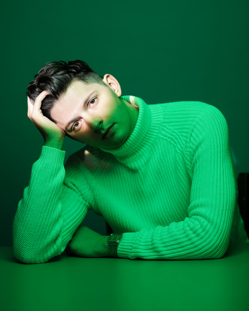 Man, portrait, green