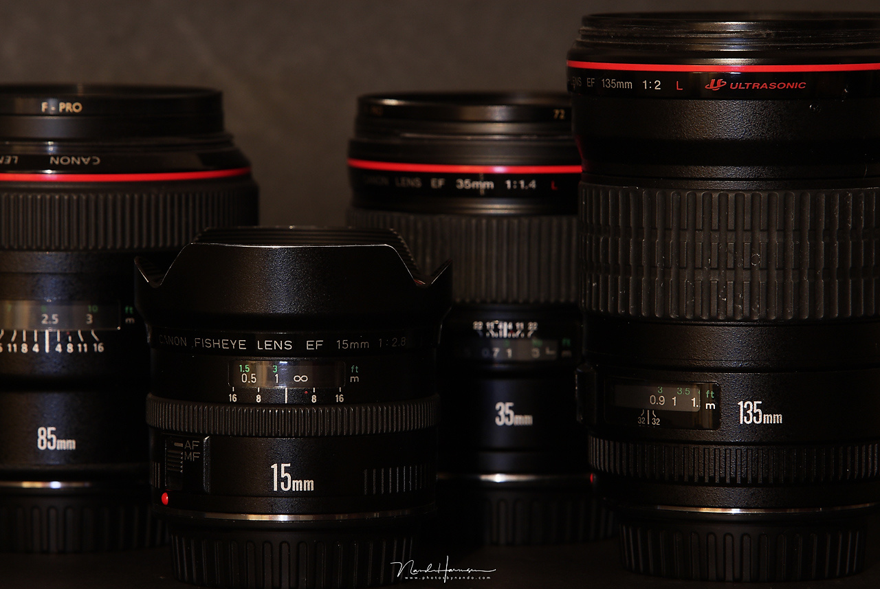 Large aperture lenses. They look good, don't they? But they're large, heavy, and expensive (except the 15mm fish-eye perhaps). My advise, only buy these kind of lenses if you really need the large aperture. It may save you a lot of money in the end.