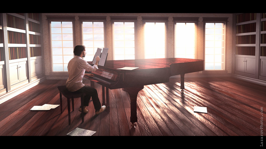 Me in a 3D room with a grand piano