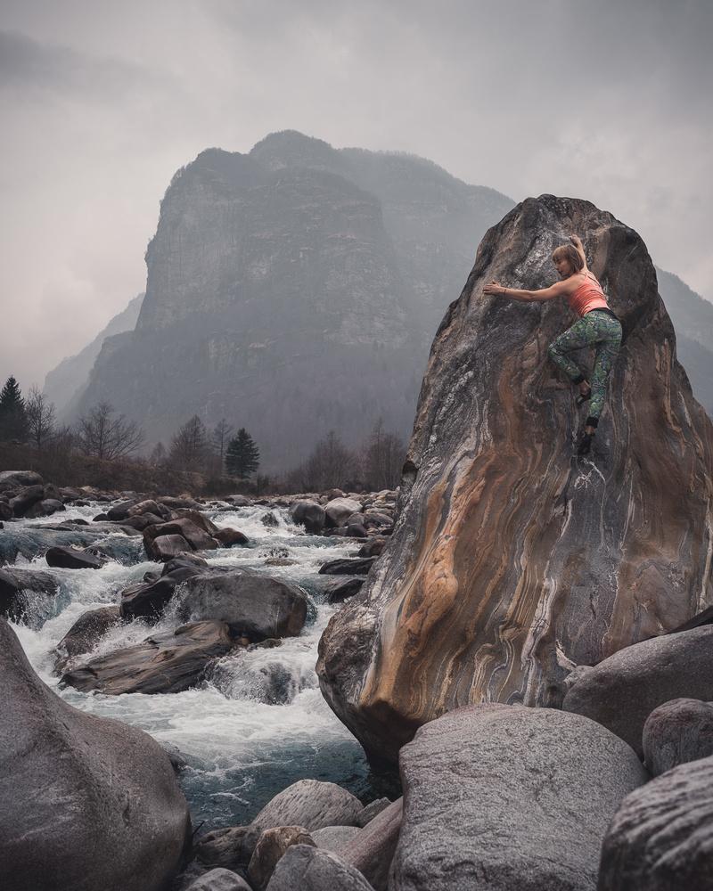 Zofia Reych bouldering in Brione, Switzerland.