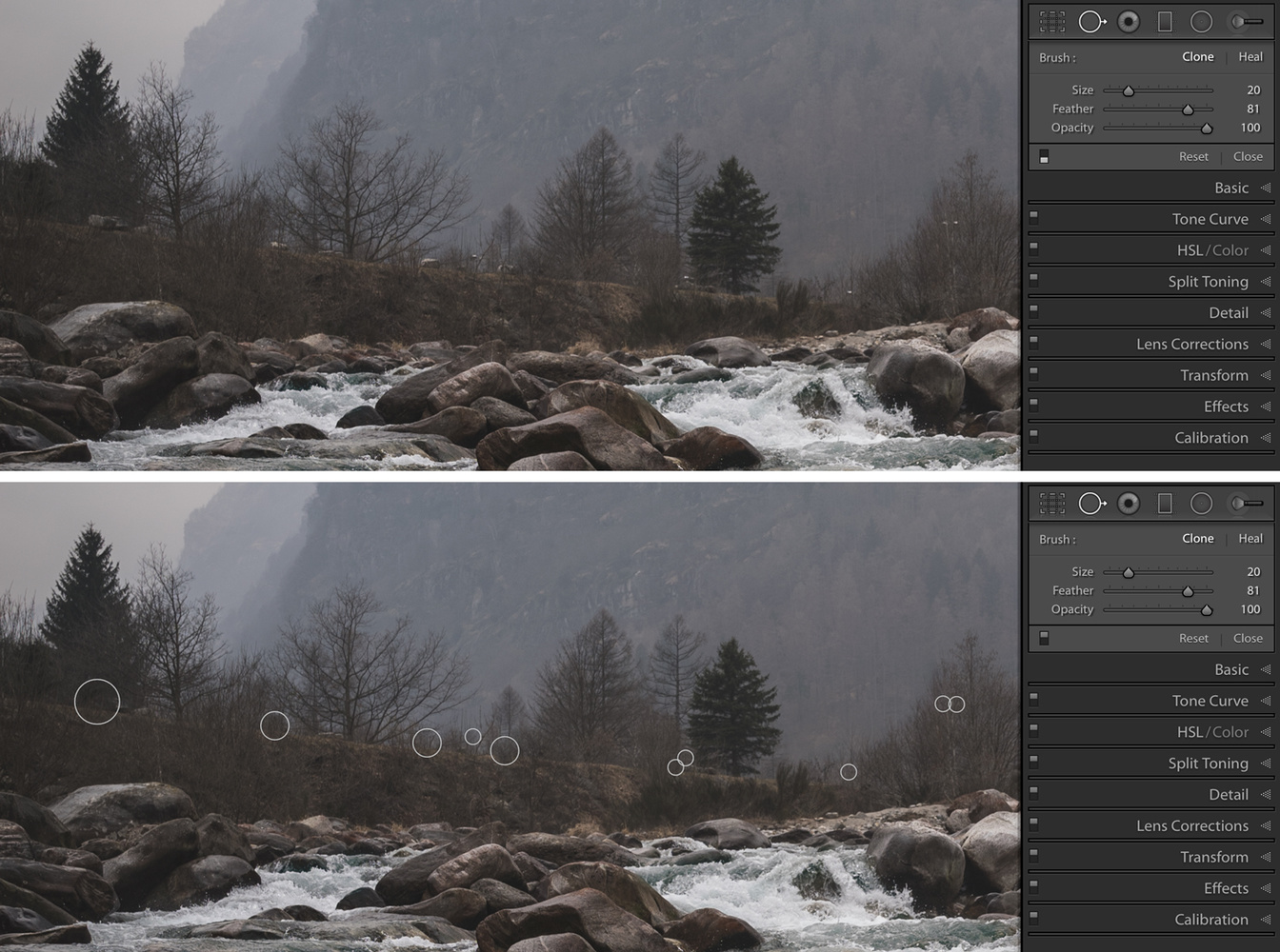 Lightroom cloning out distractions