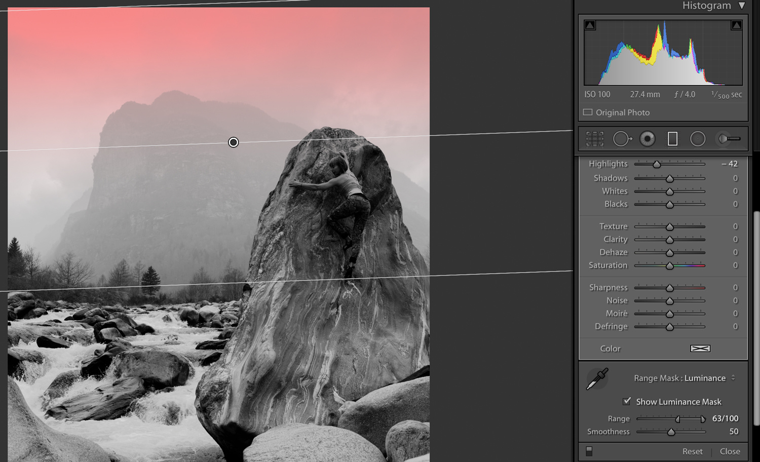 Lightroom gradient filter with range mask