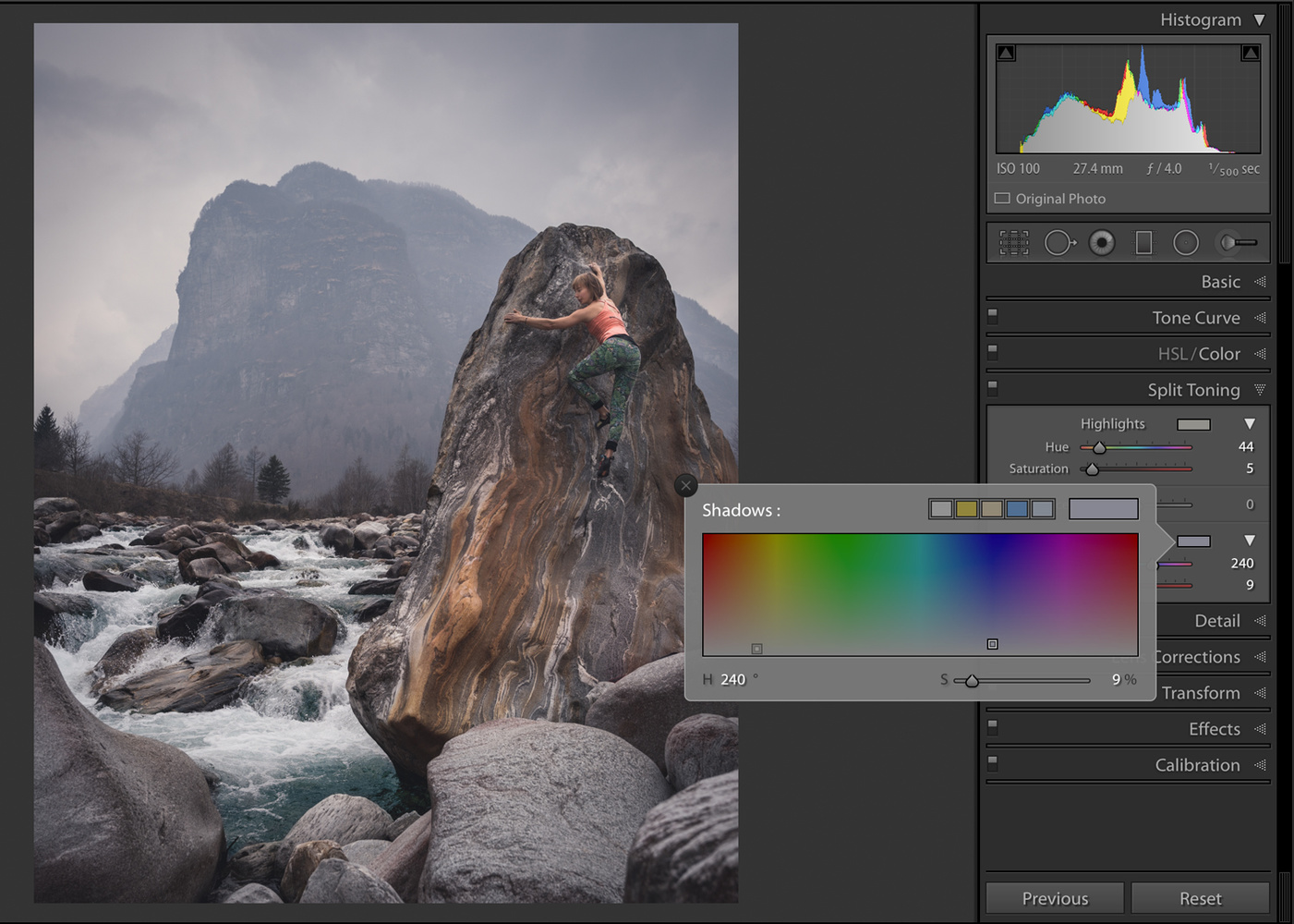 Lightroom split tone
