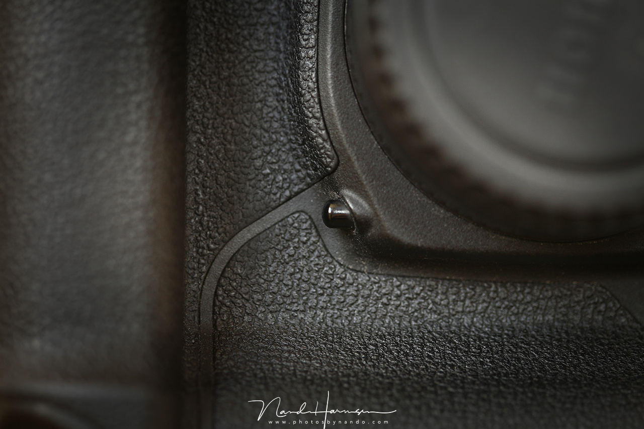 The depth of field button on a Canon EOS 1D mark III