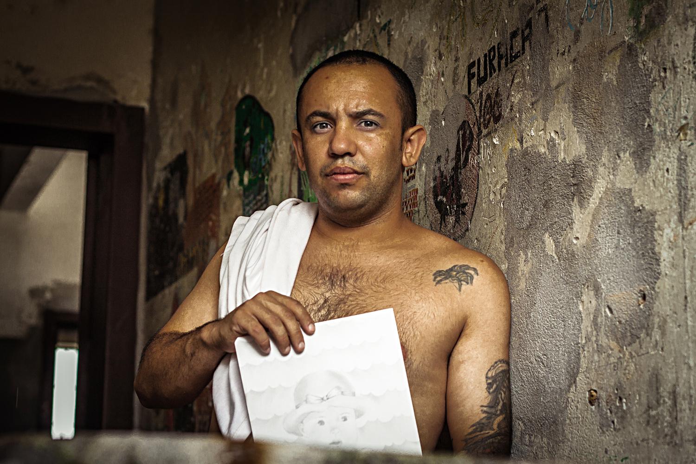 A male inmate in a Brazilian prison.