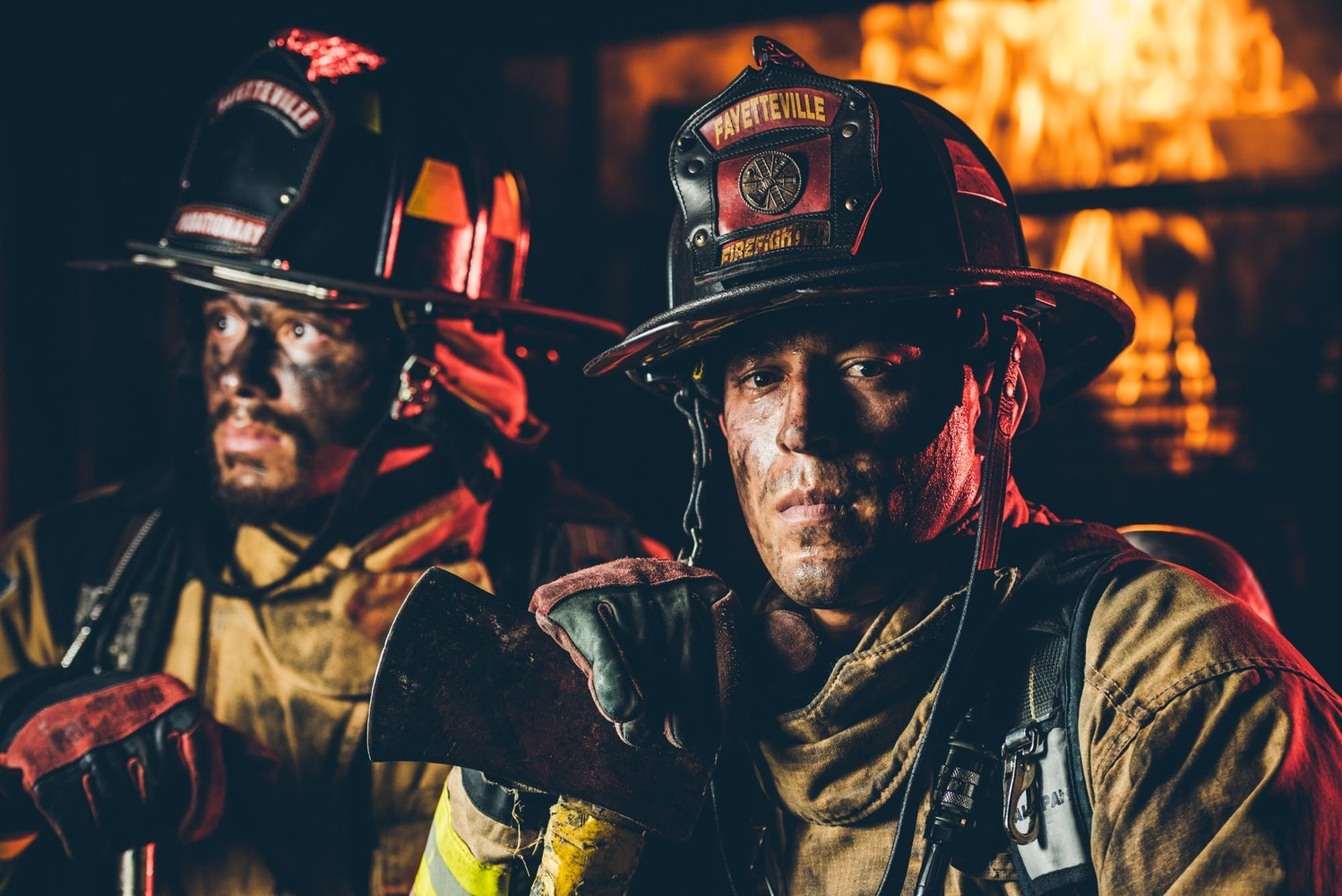 I created some images of firefighters for a local non-profit that organizes a half marathon that benefits local firefighter groups. It was smoky, and hot, and challenging. One beauty dish and one red-gelled speedlight and about a minute or two to make an