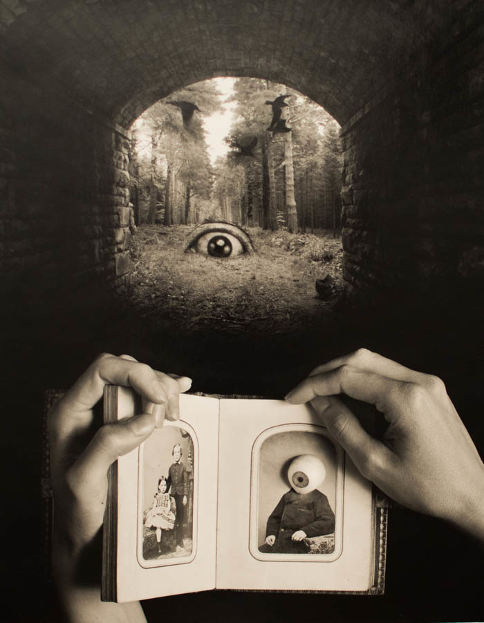 fine art black and white photo composite, surreal with eyeballs