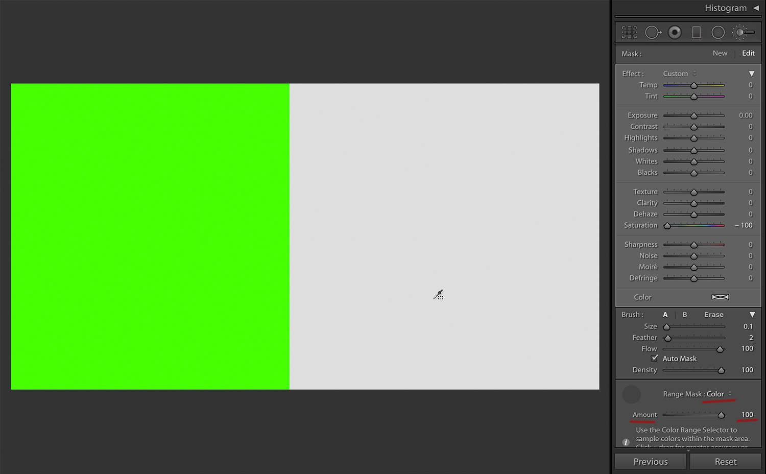 Two shades of green, desaturated - with Range Mask