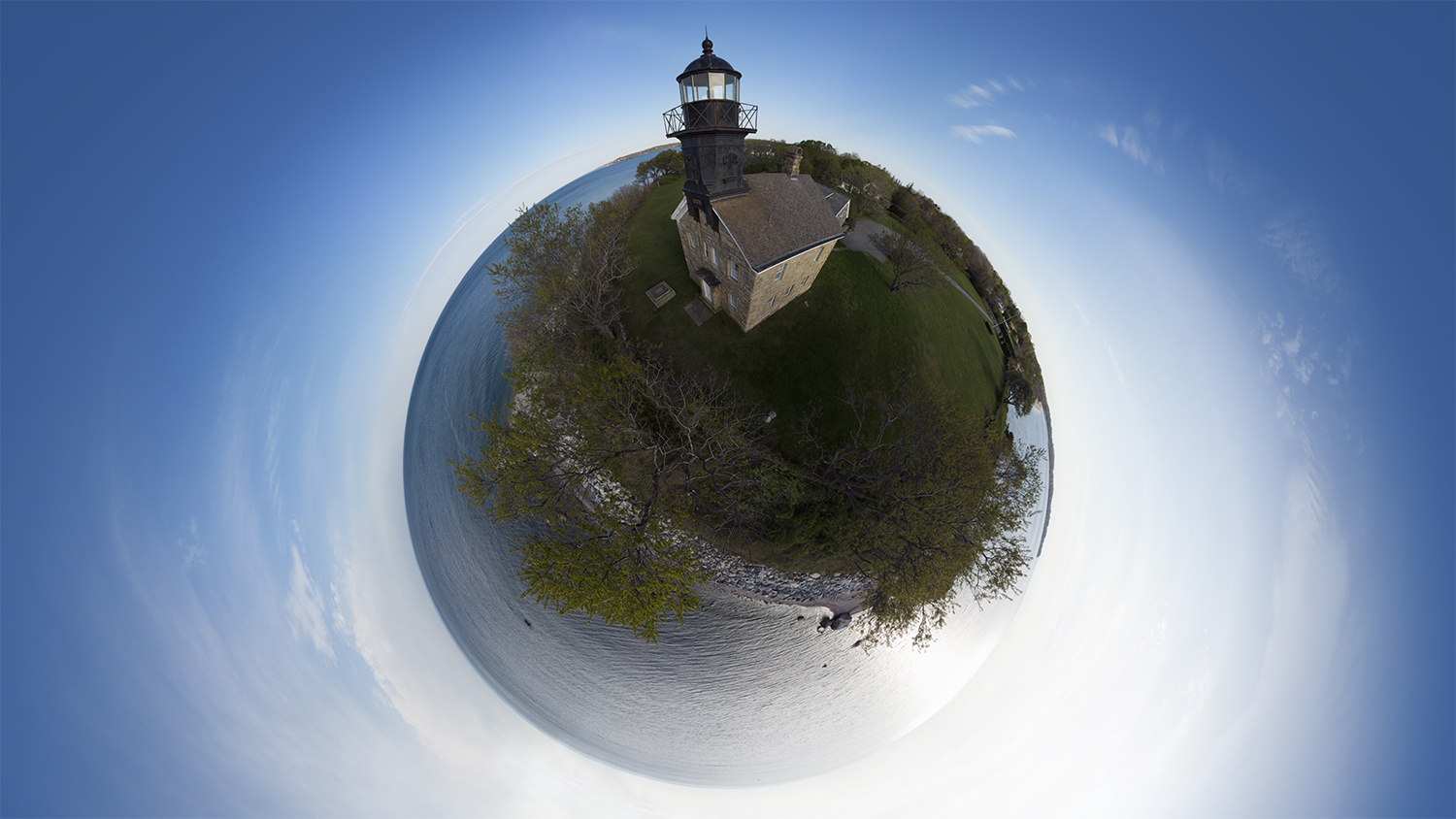 An aerial 360 of the Old Field Point Lighthouse in New York. I took this photo while my daughter was sleeping in the car next to me in a matter of ten minutes.