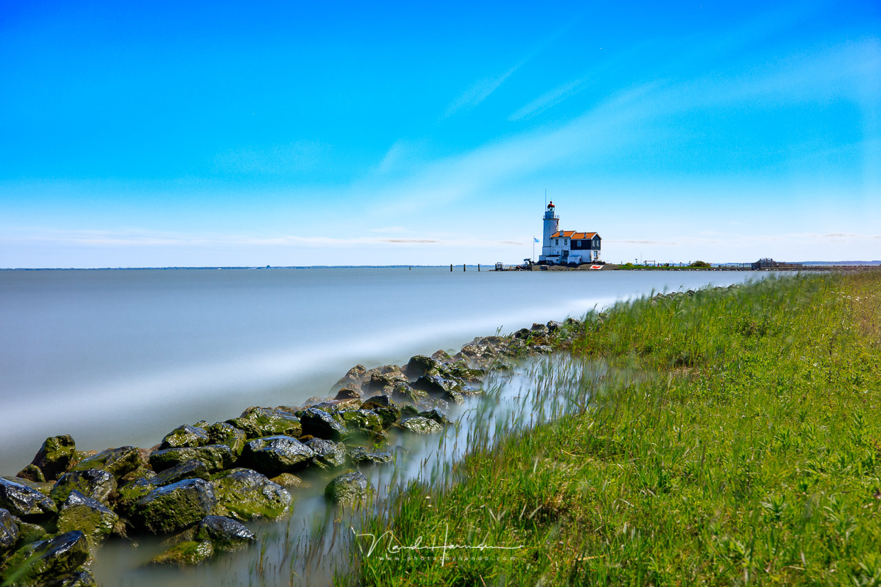The famous Dutch Lighthouse called Paard van Marken, shot with 1080 seconds exposure. It was quite difficult keeping the exposure within limits. I had to play with ISO and aperture to prevent a unreasonable exposure time. (Canon EOS 5D4 + EF16-35mm @ 35mm