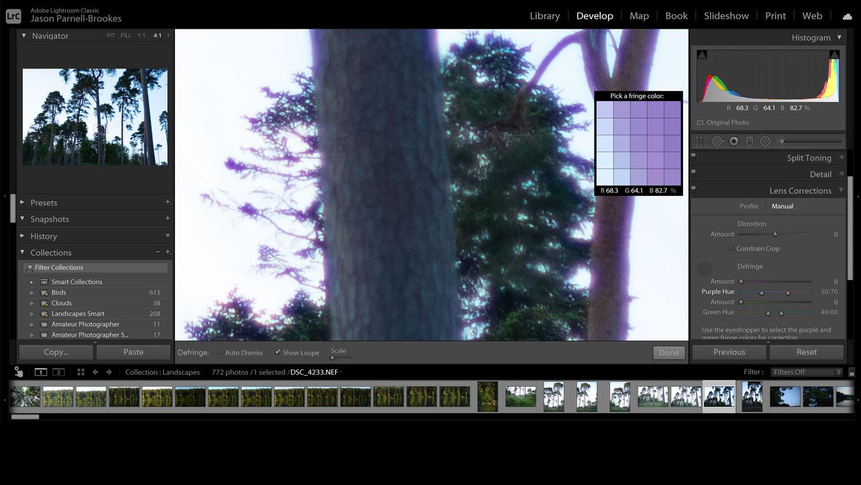Eyedropper tool to remove aberration screenshot