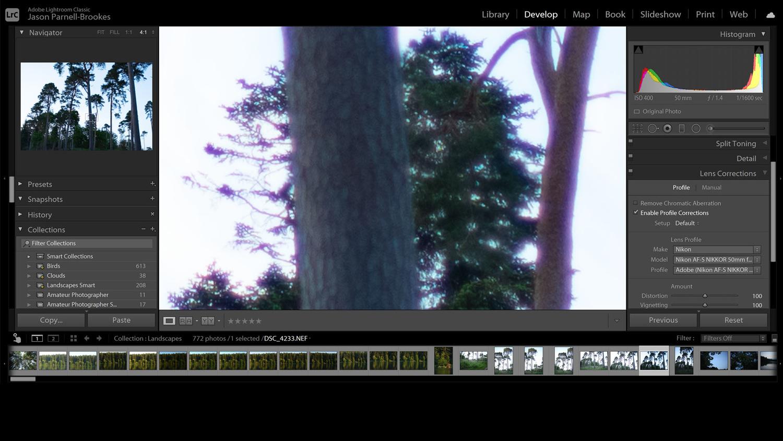 Lightroom's Enable Profile Corrections screenshot