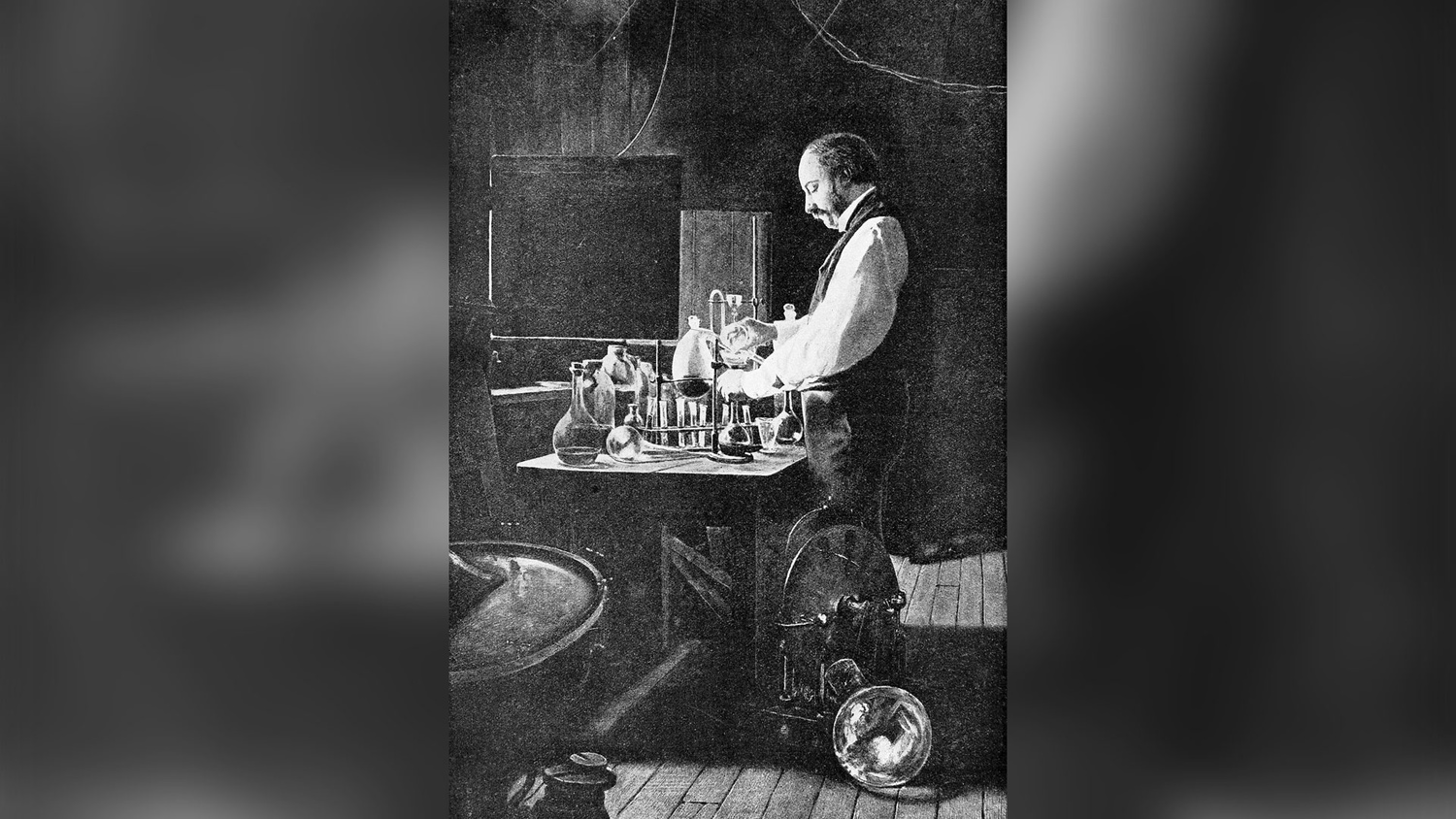 Lord Rayleigh working in his laboratory