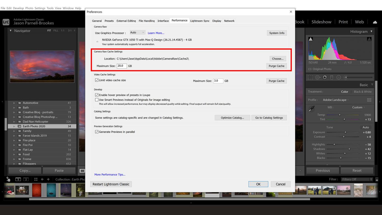 Lightroom cache increase screenshot