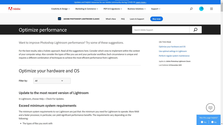 Adobe Lightroom Classic optimizing advice screenshot