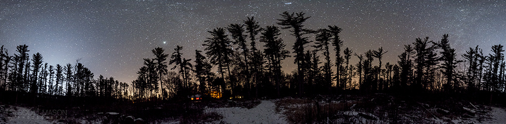 a panorama with trees and stars