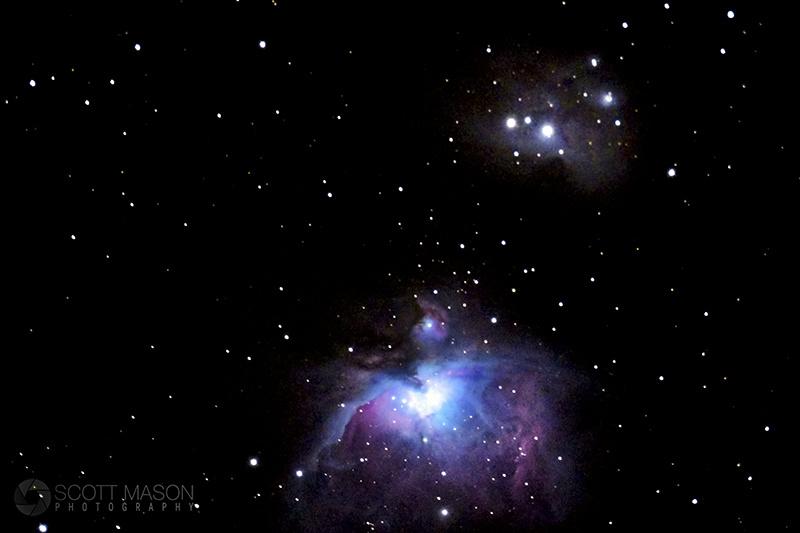 M42 Orion nebula through a telescope