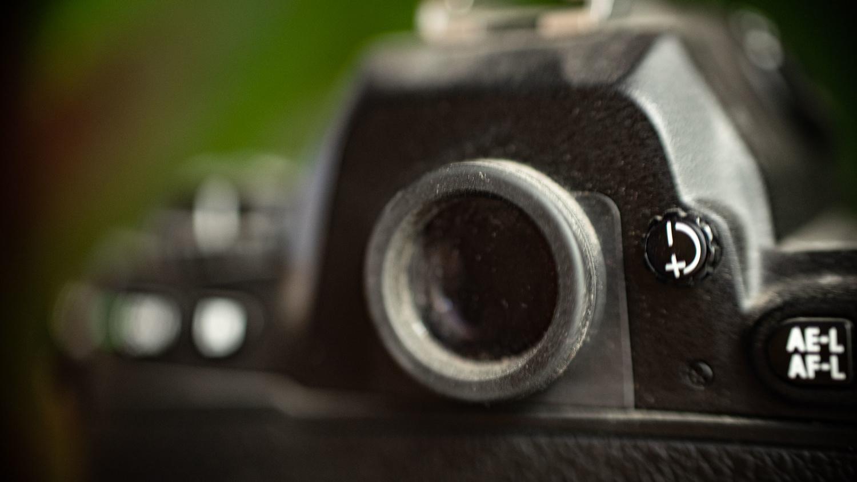 Optical viewfinder on Nikon film camera
