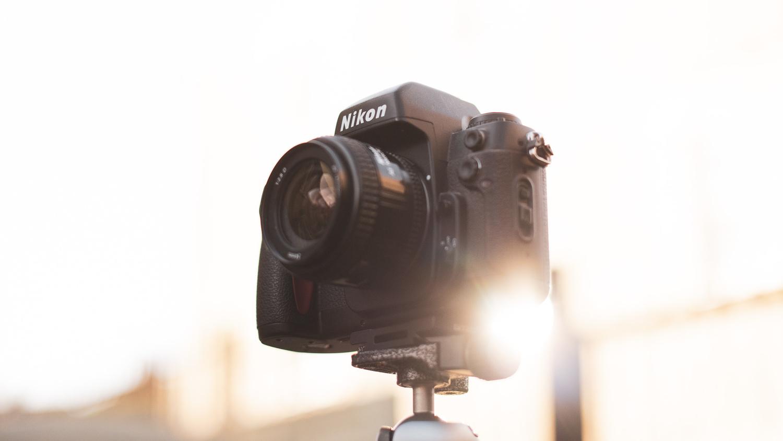 Film camera backlit by light