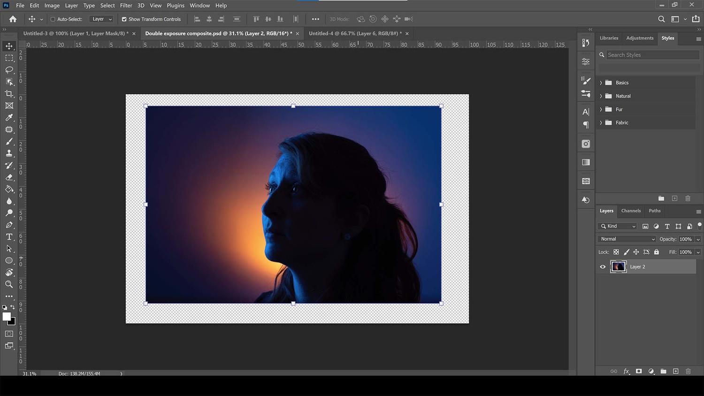 Dark portrait in photoshop