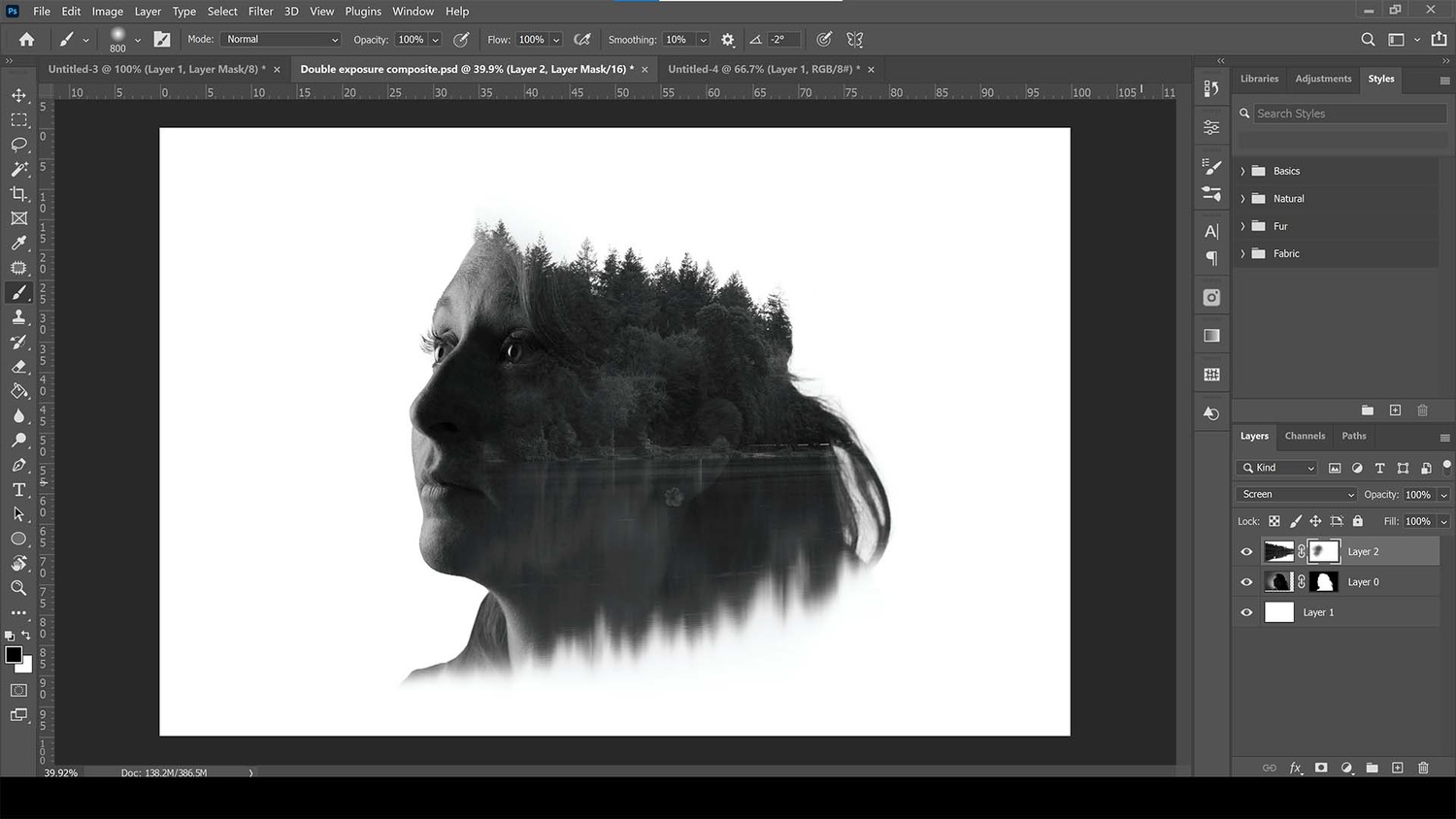 Mask the face with the brush tool