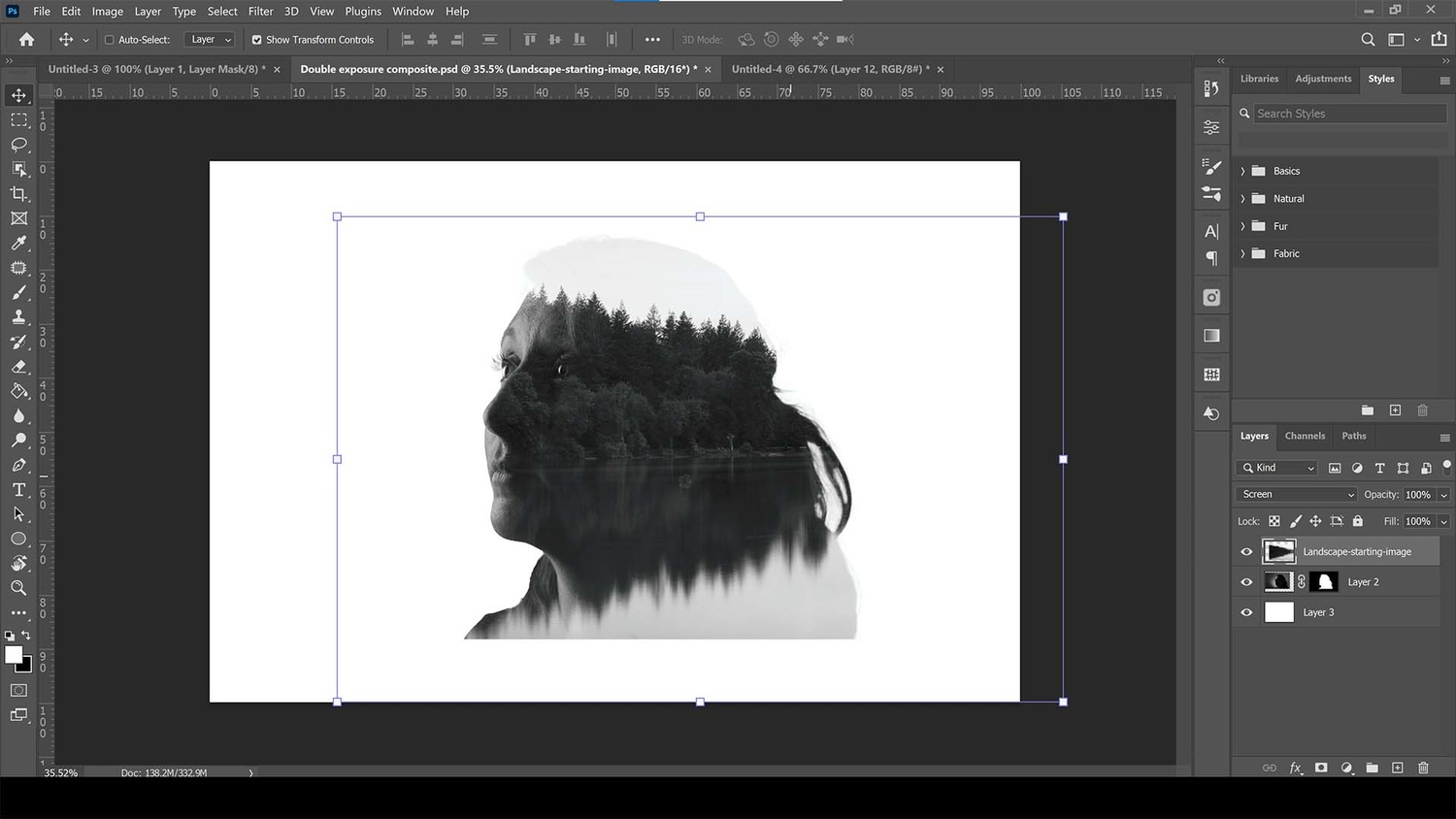 Converting landscape photo to black and white and repositioning it atop the portrait