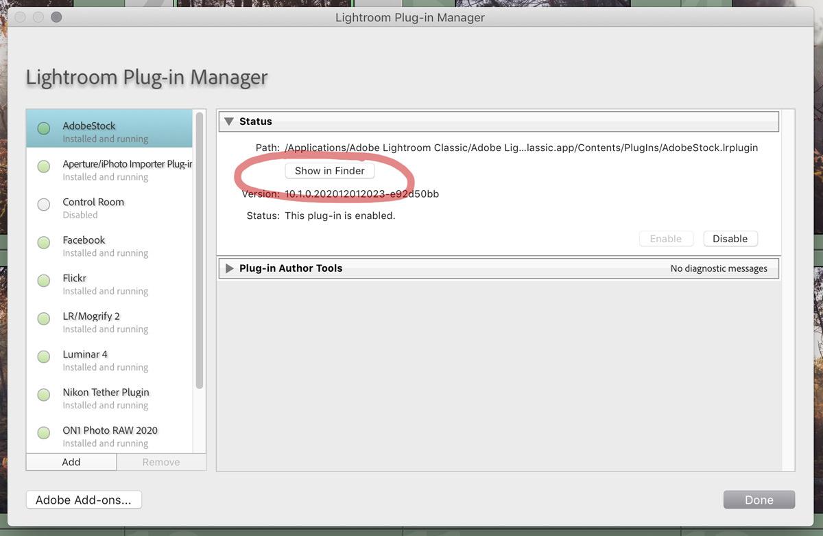 How to find Lightroom's plugin folder