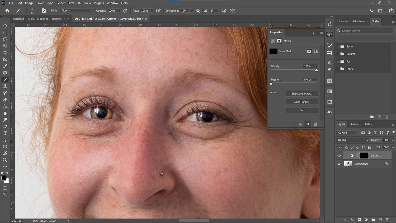 Retouching eyes in portraits