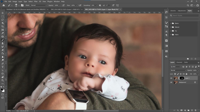 Softening baby skin in portraits